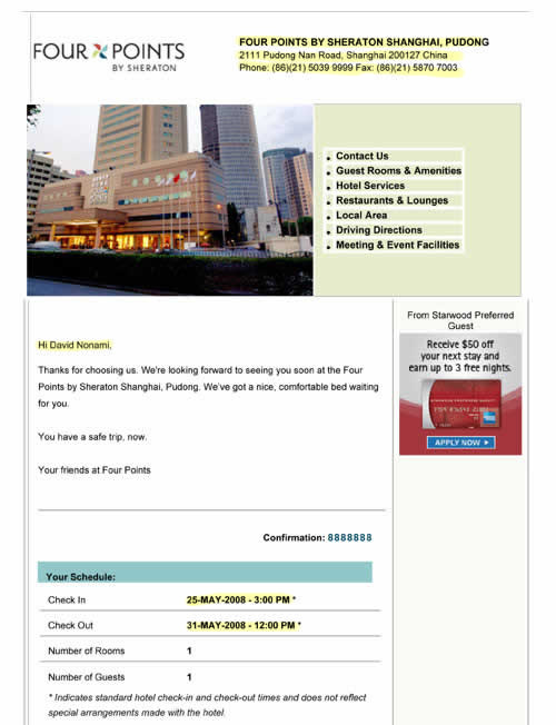 Hotel Confirmation For Chinese Visa Sample 1